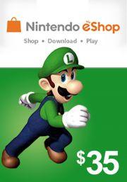 JAV Nintendo 35 USD eShop Dovanų Kortelė